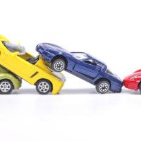 Car toys model a four car pileup accident