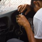 Boy alseep at on the wheel