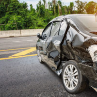 car dented after accident on road