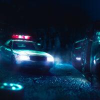 Police car arriving near a car crash / scale model scene